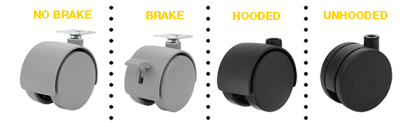 undhooded and hooded casters with and without brakes