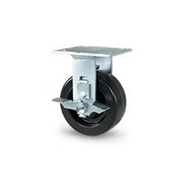 Phenolic rigid caster with brake